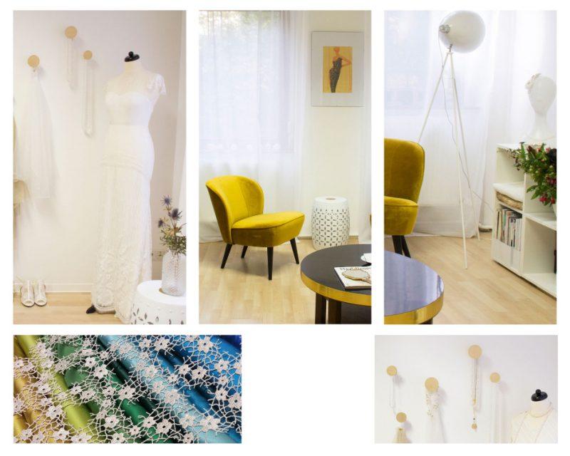Zaubberbraut Berlin Studio, Inneansichten, Brautkleid an Puppe, Detailbild Stoffe, Detailbild Tisch und Sessel