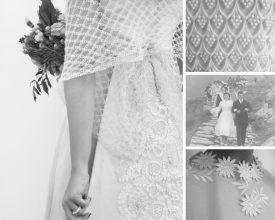 Collage aus Vintage Brautkleid Details, Schwarz-Weiß Fotos, Rückenansicht Braut mit bestickter Schleppe und Mohair Stola